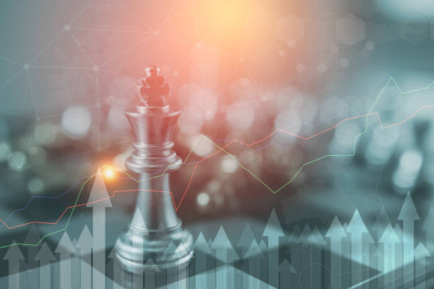 investment leadership concept : the king chess piece with chess others nearby go down from floating board game concept of business ideas and competition and strategy plan success meaning, - xadrez imagens e fotografias de stock