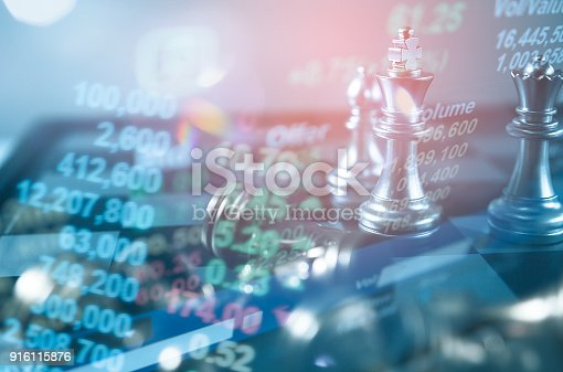 858031152istockphoto Investment Leadership Concept : The king chess piece with chess others nearby go down from floating board game concept of business ideas and competition and strategy plan success meaning. 916115876