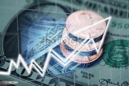 Investment Payout Dividends & Capital Gains Stock Photo