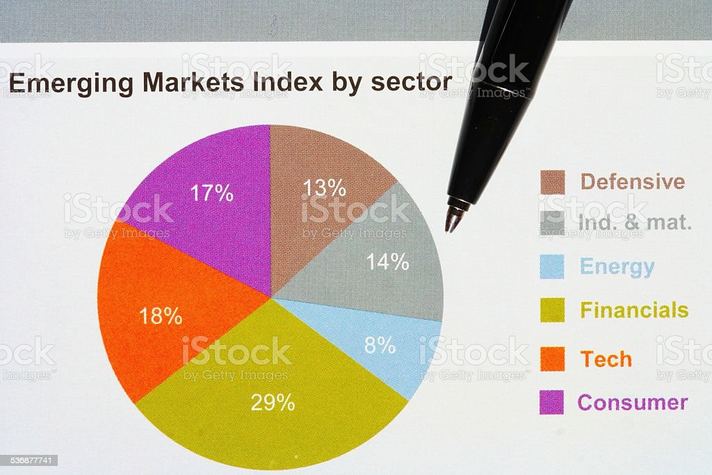 investment pie-chart stock photo