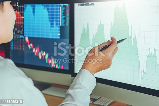 1131299321 istock photo Investment stock market  Entrepreneur Business Man discussing and analysis graph stock market trading,stock chart concept 1131299319