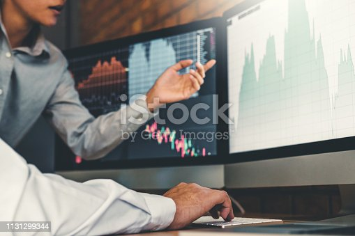 1131299321 istock photo Investment stock market  Entrepreneur Business Team discussing and analysis graph stock market trading,stock chart concept 1131299344
