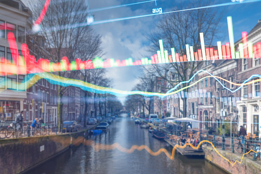 istock Investment stockmarket theme with panoramic view tourist and Street lifestyle at Amsterdam, Netherlands 1058365734
