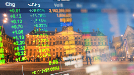 istock Investment stockmarket theme with panoramic view tourist and Street lifestyle at Amsterdam, Netherlands 1058365810