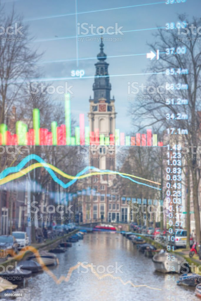Investment stockmarket theme with panoramic view tourist and Street lifestyle at Amsterdam, Netherlands - Royalty-free Amesterdão Foto de stock
