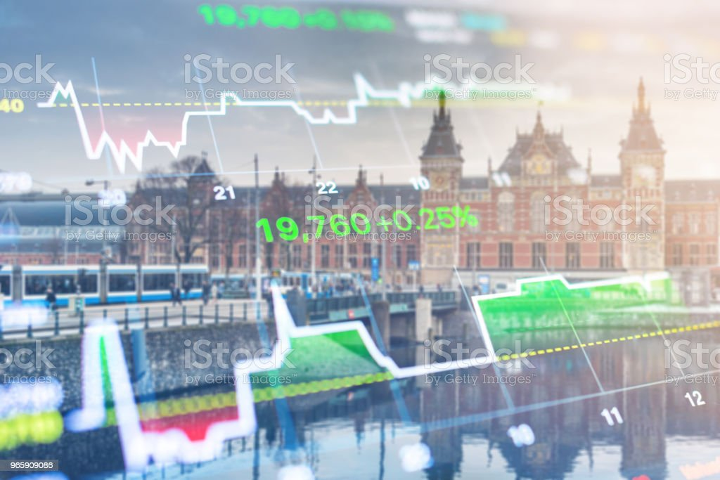 Investment stockmarket theme with panoramic view tourist and Street lifestyle at Amsterdam, Netherlands - Royalty-free Accountancy Stock Photo