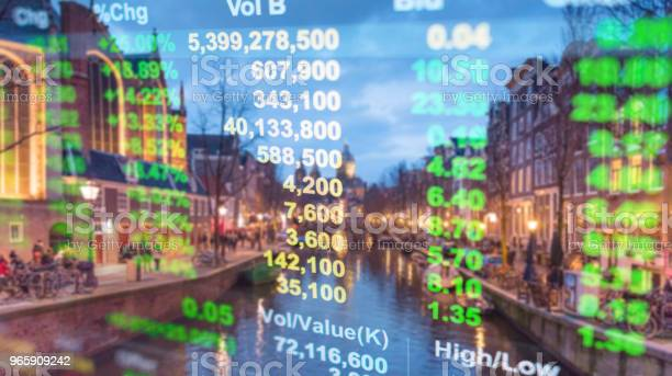 Investment Stockmarket Theme With Panoramic View Tourist And Street Lifestyle At Amsterdam Netherlands Stock Photo - Download Image Now