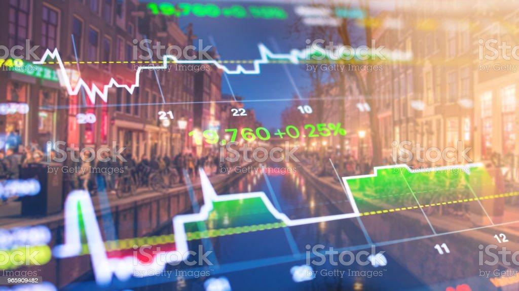 Investeringen aandelenmarkt thema met panoramisch uitzicht over toeristische en Street levensstijl bij Amsterdam, Nederland - Royalty-free Accountancy Stockfoto
