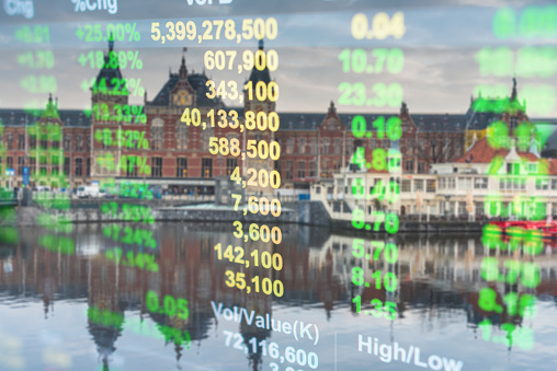 istock Investment stockmarket theme with panoramic view tourist and Street lifestyle at Amsterdam, Netherlands 965911786