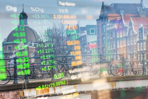 istock Investment stockmarket theme with panoramic view tourist and Street lifestyle at Amsterdam, Netherlands 992892768