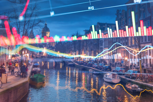 istock Investment stockmarket theme with panoramic view tourist and Street lifestyle at Amsterdam, Netherlands 992892822