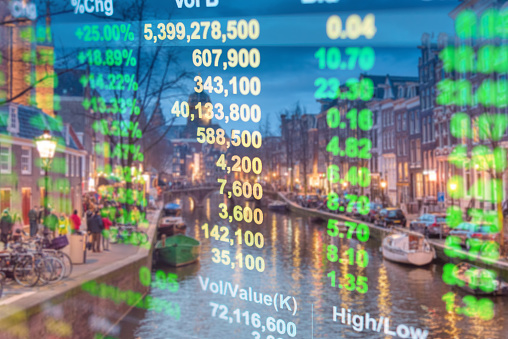 istock Investment stockmarket theme with panoramic view tourist and Street lifestyle at Amsterdam, Netherlands 992893138