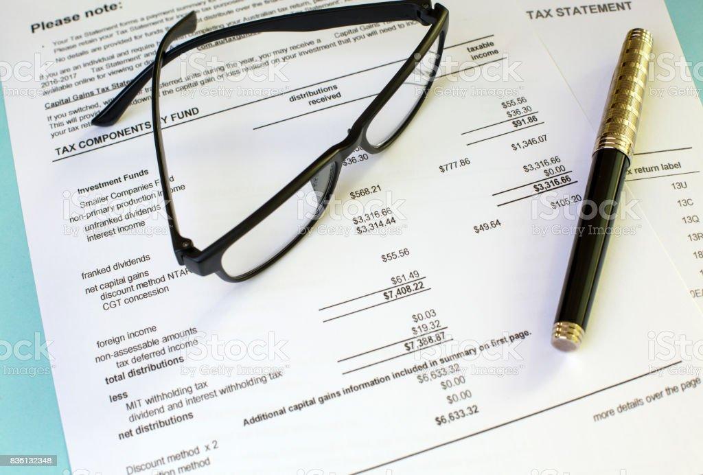 Investment Tax Statement stock photo