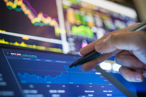 Investment theme background stockmarket and finance business analysis stockmarket Stockmarket crash and Financial crisis stock photo