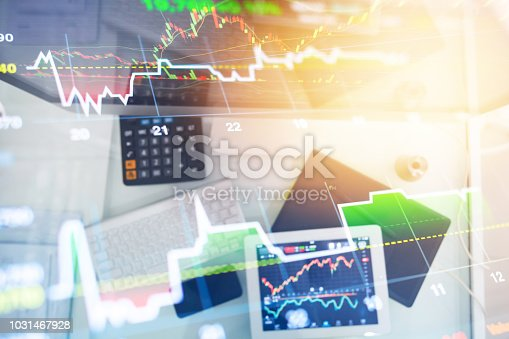 istock Investment theme stockmarket and finance business analysis stockmarket with digital tablet 1031467928