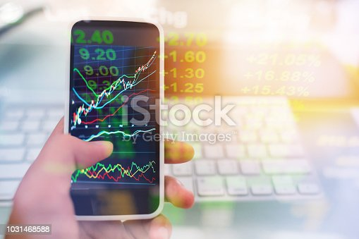 istock Investment theme stockmarket and finance business analysis stockmarket with digital tablet 1031468588