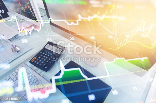 istock Investment theme stockmarket and finance business analysis stockmarket with digital tablet 1031468622