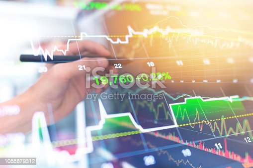 istock Investment theme stockmarket and finance business analysis stockmarket with digital tablet 1055879312