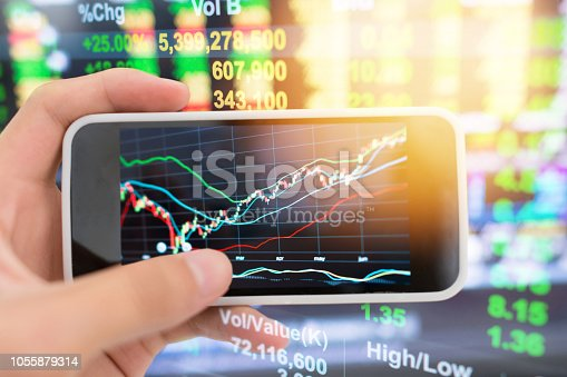 istock Investment theme stockmarket and finance business analysis stockmarket with digital tablet 1055879314