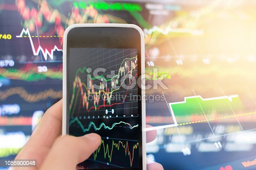 istock Investment theme stockmarket and finance business analysis stockmarket with digital tablet 1055900048