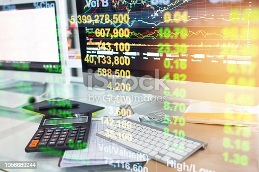 1061121998istockphoto Investment theme stockmarket and finance business analysis stockmarket with digital tablet 1056689244