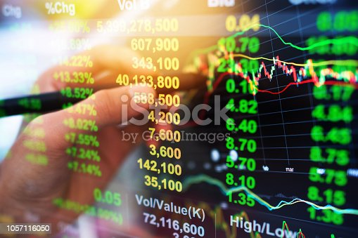 istock Investment theme stockmarket and finance business analysis stockmarket with digital tablet 1057116050