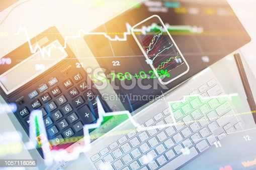 istock Investment theme stockmarket and finance business analysis stockmarket with digital tablet 1057116056