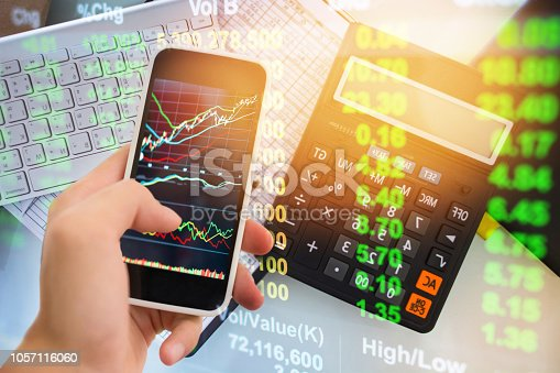 istock Investment theme stockmarket and finance business analysis stockmarket with digital tablet 1057116060