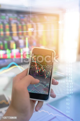 istock Investment theme stockmarket and finance business analysis stockmarket with digital tablet 1057739858