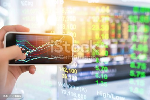 istock Investment theme stockmarket and finance business analysis stockmarket with digital tablet 1061122006