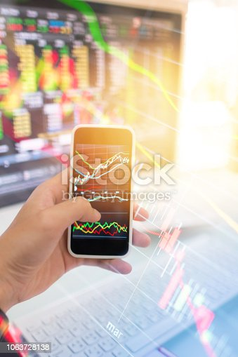 865596966istockphoto Investment theme stockmarket and finance business analysis stockmarket with digital tablet 1063728138