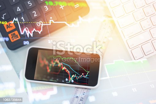 istock Investment theme stockmarket and finance business analysis stockmarket with digital tablet 1063735644