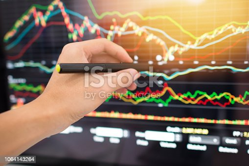 865596966istockphoto Investment theme stockmarket and finance business analysis stockmarket with digital tablet 1064143264