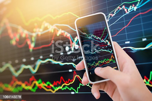 istock Investment theme stockmarket and finance business analysis stockmarket with digital tablet 1064143278