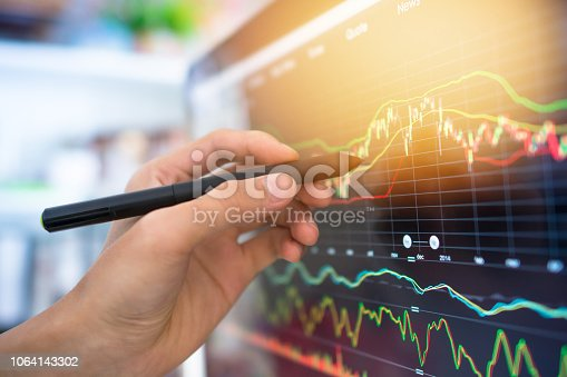istock Investment theme stockmarket and finance business analysis stockmarket with digital tablet 1064143302