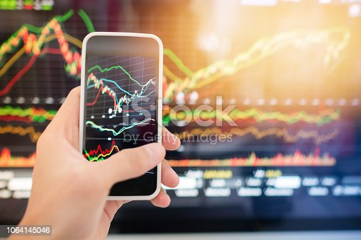 istock Investment theme stockmarket and finance business analysis stockmarket with digital tablet 1064145046