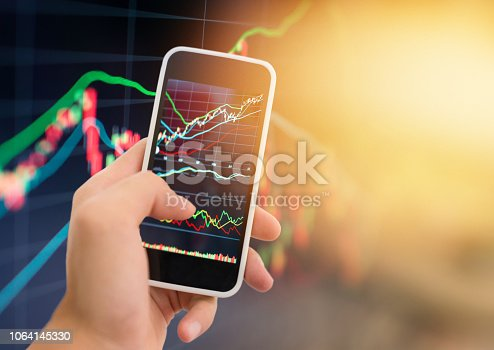 istock Investment theme stockmarket and finance business analysis stockmarket with digital tablet 1064145330