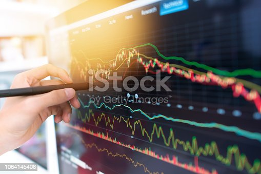 865596966istockphoto Investment theme stockmarket and finance business analysis stockmarket with digital tablet 1064145406