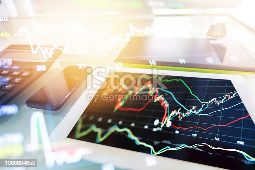 865596966istockphoto Investment theme stockmarket and finance business analysis stockmarket with digital tablet 1068804650