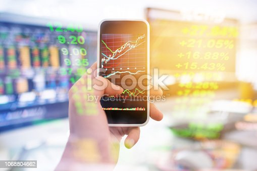 istock Investment theme stockmarket and finance business analysis stockmarket with digital tablet 1068804662