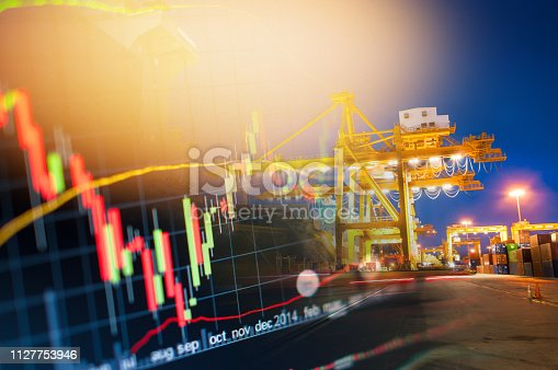 istock Investment theme stockmarket and finance business analysis stockmarket with digital tablet 1127753946