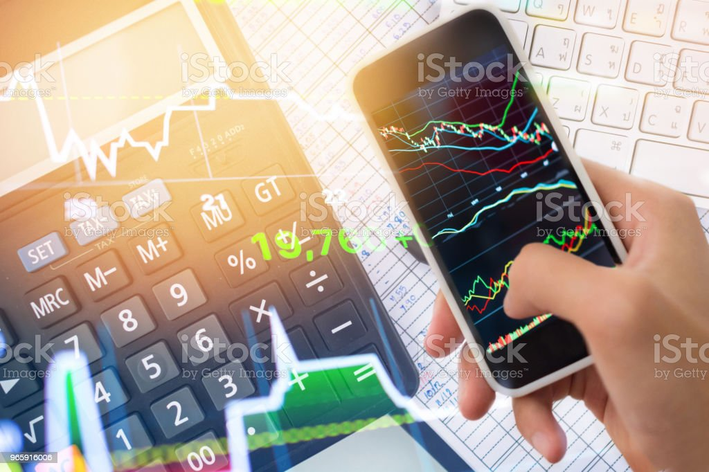 Investment theme stockmarket and finance business analysis stockmarket with digital tablet - Royalty-free Accountancy Stock Photo