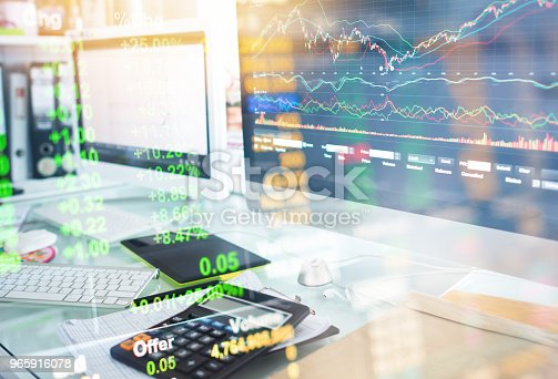 istock Investment theme stockmarket and finance business analysis stockmarket with digital tablet 965916078