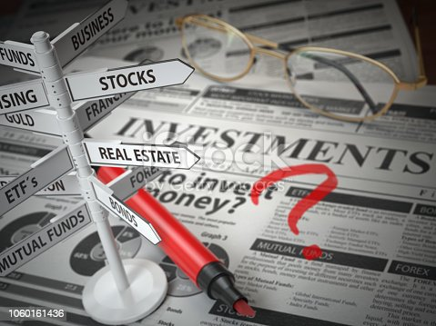 istock Investmments and asset allocation concept. Where to Invest? Newspaper and direction sign with investment options. 1060161436
