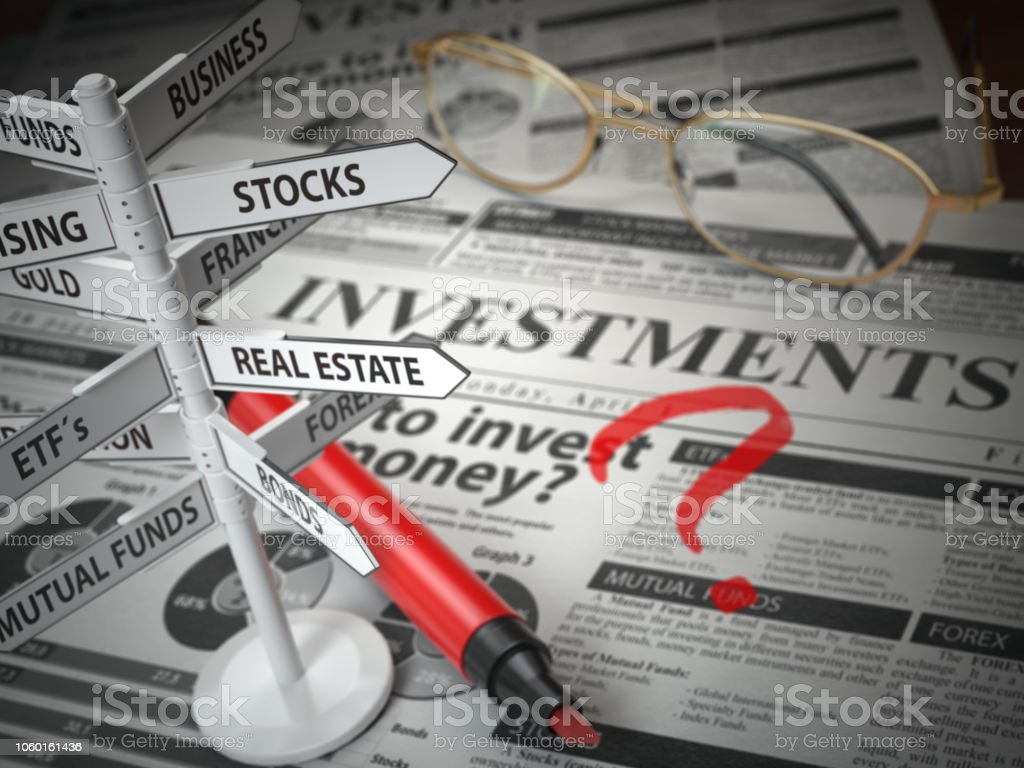 Investmments and asset allocation concept. Where to Invest? Newspaper and direction sign with investment options. stock photo