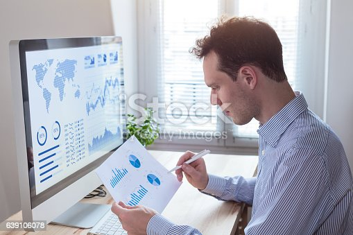 850852928istockphoto Investor analyzing financial reports and key performance indicators, computer screen 639106078
