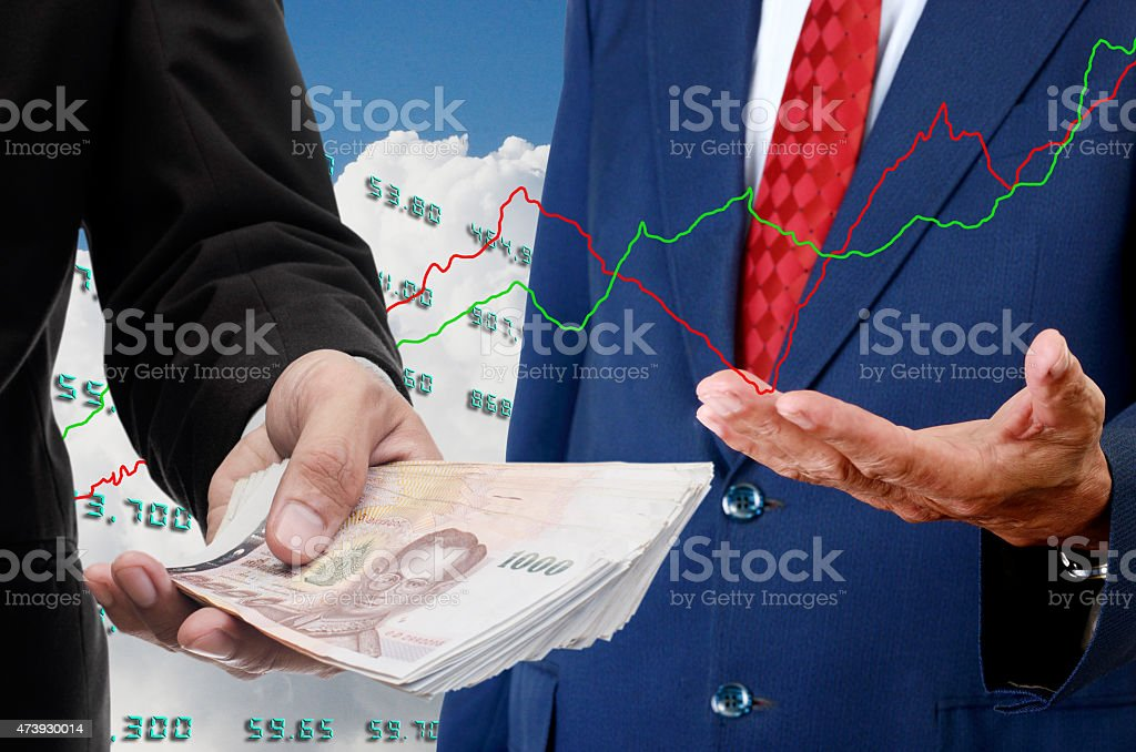 Investor make money from stock exchange concept stock photo