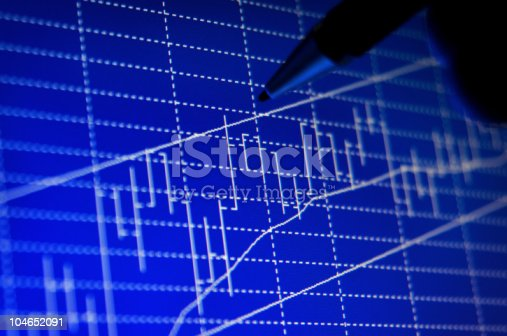 istock Investor's Hand and Pen Analyzing Stock Graph on the Screen 104652091