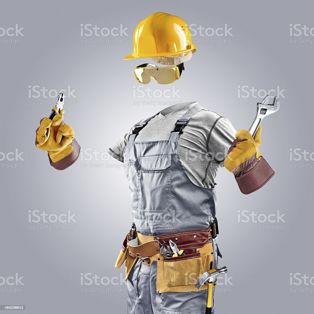 invisible builder with wrench and pliers stock photo
