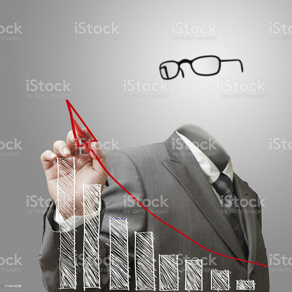 invisible business man draws growth graph royalty-free stock photo